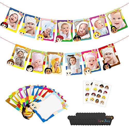 MALLMALL6 Princess 12 Month Photos Banner 1st Birthday Decoration Party Supplies Baby Monthly Milestone Photo Banner Princess Stickers Queen Ariel Cinderella Belle Party Favors for 1 Year Old Kids