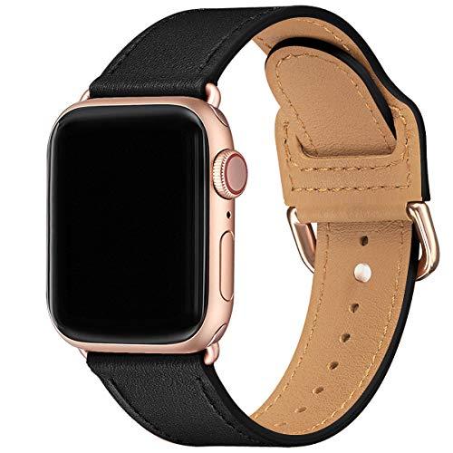SUNFWR Armband Kompatibel mit Apple Watch 38mm 40mm 42mm 44mm,Dünn und leicht Lederband Ersatzband,Mehrere Farbbänder für die iwatch Serie 6/5/4/3/2/1,SE(38mm 40mm,Schwarz/Roségold)