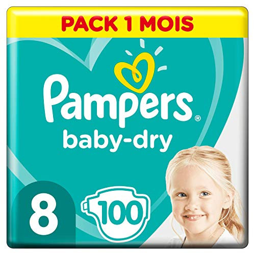 Pampers Baby-Dry Maat 8 (17+kg), 100 Luiers, Luchtdoorlatende Banen Voor Een Droge Huid Die Kan Ademen Tijdens De Nacht, Maandbox