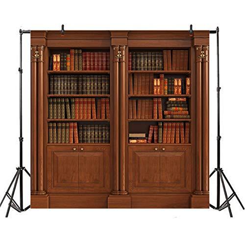 Leowefowa 1,8x1,8m Vinilo Telon de Fondo Estantes de Libros de Fondo Libros Viejos Estantería de Madera Biblioteca Fondos para Fotografia Party Photo Studio Props Photo Booth