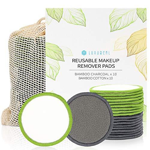 Discos Desmaquillantes Reutilizables de Luxureal, 20 Pcs de Algodones Desmaquillantes Lavable con una Bolsa de Malla para Todo Tipo de Piel