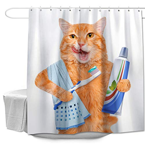 Colorful Star Funny Shower Curtain with Hooks for Kids Bathroom Polyester Fabric Waterproof Decorative Bath Curtain Sets Bathroom Accessories 72'x72' - Cat Brushing Teeth