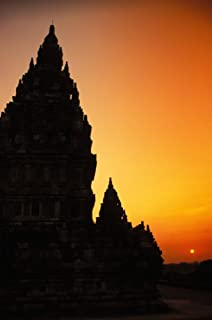 Posterazzi Indonesia Java Prambanan Shiva Mahadeva Temple Silhouetted At Sunset Poster Print (22 x 34)