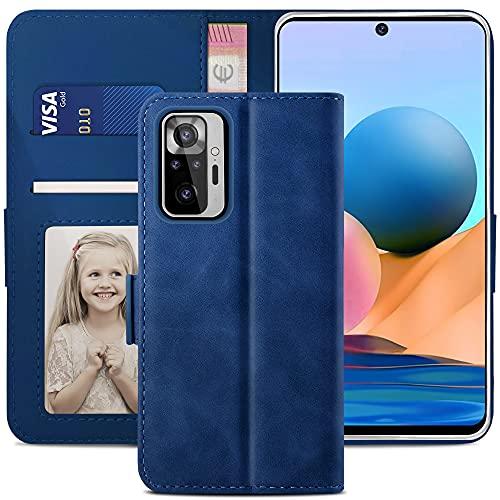 YATWIN Handyhülle Xiaomi Redmi Note 10 Pro Hülle, KlapphülleXiaomi Redmi Note 10 Pro Premium Leder Brieftasche Schutzhülle [Kartenfach] [Magnet] [Stand] Handytasche Hülle, Blau