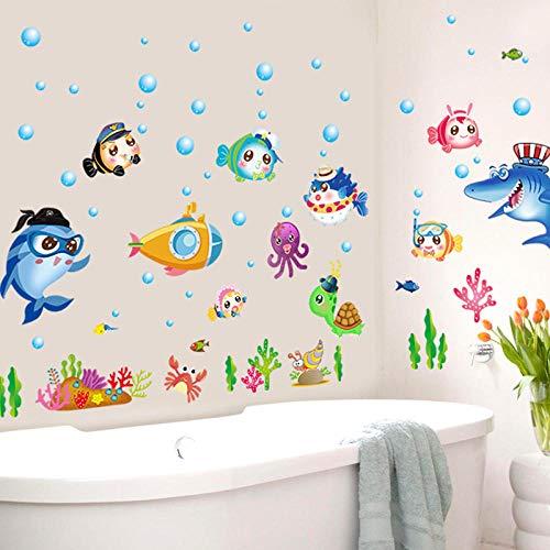 Glasaufkleber Badezimmer Dusche Dekoration Ozean Fliesen Glas Wasserdicht Aufkleber Cartoon Wand Fisch