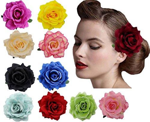 Amuhou Womens Rose Flower Hair Clip Flower Brooch for Bridal Headpiece,Flamenco Dancer 10-Pack (Mixed 10 Colors)