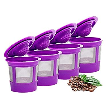 Keurig 4 Reusable K Cup Coffee Filters For Keurig Family 2.0 and 1.0 Brewers Fits K200, K300/K350, K400/K450/K460, K500/K550/K560 (Purple, 4)