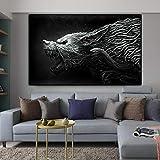 yaoxingfu Sin Marco Cancas ng Abstract Animal Lion Wolf Carteles e Impresiones Quadro Home Decor Wall Art Pictures para Sala de Estar 40x60cm