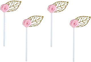 24 Pack of Glitter Gold Leaf Cupcake Toppers with Pink Rose Flower for Birthday Party Baby Shower Wedding Bridal Shower Ca...