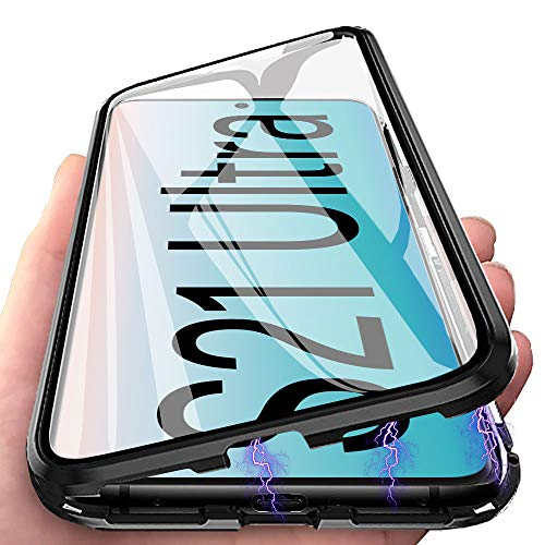 Funda para Samsung Galaxy S21 Ultra Carcasa Adsorción Magnética, E-Lush Funda 360 Grados Protección Transparente Caso Metal Flip Cover Frontal y Posterior Vidrio Templado Anti Choque Case Cover, Negro