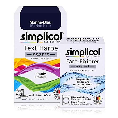 Simplicol Textilfarbe expert + Farbfixierer Kombipack, Marine-Blau 1708: Farbe für Waschmaschine oder manuelles Färben