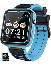 Kinder SmartWatch Phone Smartwatches mit Wasserdicht IP67 SOS Voice Chat Kamera Wecker Digitale Armbanduhr Smartwatch Junge Mädchen Birthday (BLUE)