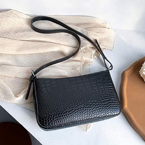 Frauentasche Damen Kleine Umhängetasche Retro Damen Tasche Reißverschluss Umhängetasche Lederhandtasche Frauen Retro Handtasche Schwarz