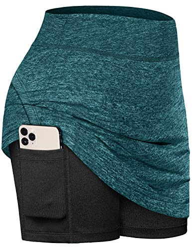 Fulbelle Tennis Skirt, Teen Girls Summer Golf Skorts for Women with Pockets Athletic Fitness Workout Moisture-Wicking Pleated Skirts Elastic Basic Wear Lounge Shorts Green X-Large
