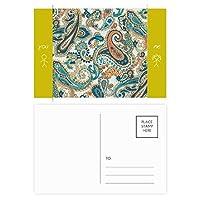 クラシックブルー/オレンジ抽象的な魚のパターン 友人のポストカードセットサンクスカード郵送側20個