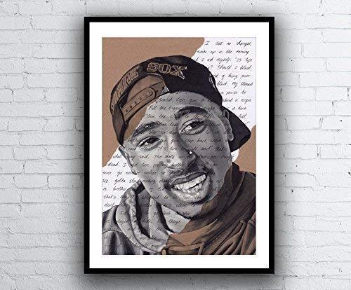 Tupac Shakur Portrait - signed Giclée art print with Changes lyrics. Marker Pen Drawing Kunstdruck A5 A4 A3 sizes 2pac Hip Hop Artwork