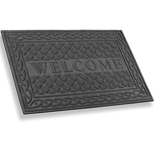 Mibao Fußmatte Außen,Robuster Fußabtreter,45x75 cm Grau Schmutzfangmatte Fußabstreifer,Rutschhemmend Fußmatte,Sauberlauf-Matte,Türvorleger für Innen & Außen