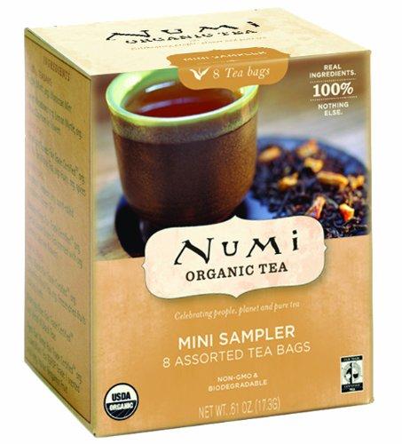 Numi Organic Tea Mini Sampler, 8 Count Box of Tea Bags (Pack of 12) - Black, Green, White & Herbal Teas (Packaging May Vary)