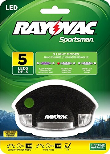 Rayovac Sportsman 7 Lumen 2CR2032 5-LED Blood Tracking Hat Clip Light with Batteries (SPCLPBT-B)