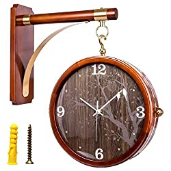 DNSJB wall clock Double-Sided Wall Clock, Wall Clock Wooden Frame Indoor Train Station Clock Vintage Antique Look Wall Mounted Clock (Color : Forest Bird)