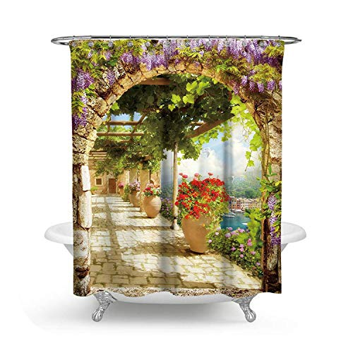 HOT-house Heavy Bath Curtain, Sea Beach Shower Curtains 3D Landscape Bath Screen Romantic Roman Arch Waterproof Bathroom Curtain With Hooks Bath Decor Curtain-Shower Curtain-150X180CM