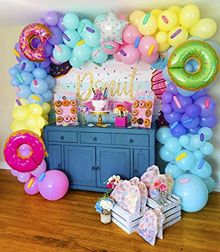 Conleke Macaron Donut Balloon Garland Arch Kit with 165 pcs Green, Purple, Yellow, Pink, Blue Pastel Balloons, Donuts Star Foil Balloons, for Brithday,Baby Shower Party Decorations