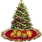 """Lim - Gonne per Alberi di Natale, Base per Albero di Natale90cm / 36"""", Rotonda, Coperta per Albero di Natale, Protezione Decorativa Contro Gli Aghi – Rosso,d'oro"""