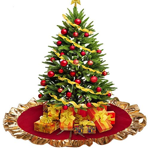 FZCRRDU KOCCAE Christmas Tree Skirt, Red with Gold Rim 36' Xmas Tree Decorations for Holiday Party