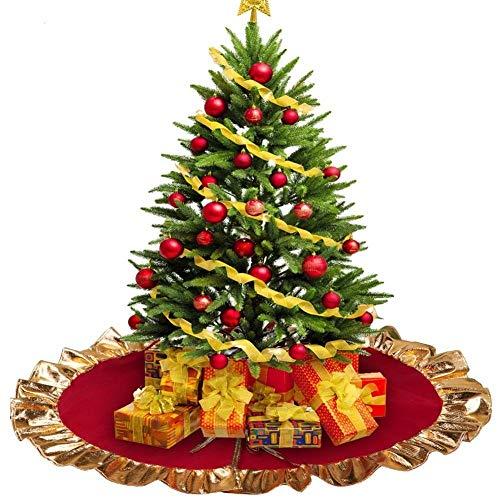 Lim - Weihnachtsbaum Rock 90 cm Weihnachtsbaum Decke Weihnachtsmann Samt Baum-Matte, Weihnachtsdekoration, Dekoration für Weihnachten, Party, Dekoration (Rot, Gold) Tannenbaum decke