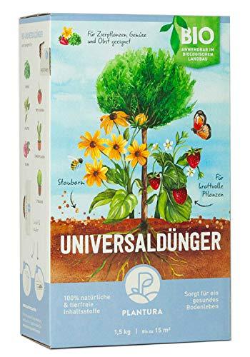 Plantura Bio Universaldünger mit 3 Monaten Langzeitwirkung, Pflanzendünger, 1,5 kg, für kraftvolle Pflanzen, 100{76fcb7a6f4da7917c75b7282490d145ef289f2969f7d75e3f21ffd45039f768a} tierfrei & Bio, gut für den Boden, unbedenklich für Haus- & Gartentiere, Naturdünger