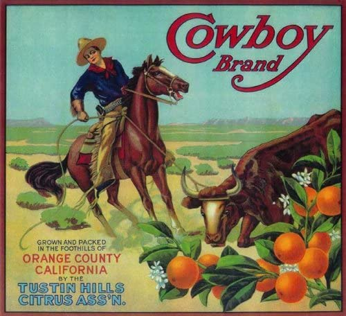 McAllen Texas McA Cowboy Orange Citrus Fruit Crate Label Vintage Art Print