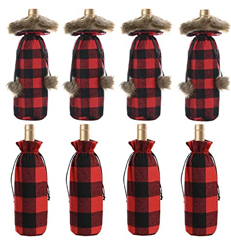 Santa Claus Christmas Wine Bottle Bags Red Wine Bottle Cover with Drawstring for Xmas Party Table Decor (Buffalo Plaid 8 Pack B)