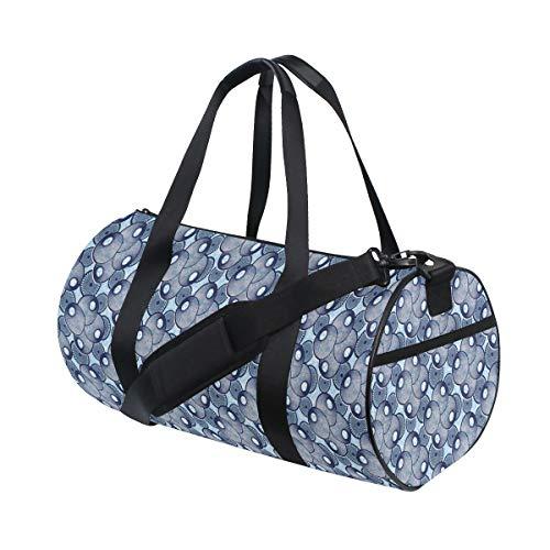ZOMOY Sporttasche,Geometrische Muscheln Natur inspiriert repetitive rhythmische Illustration,Neue Bedruckte Eimer Sporttasche Fitness Taschen Reisetasche Gepäck Leinwand Handtasche
