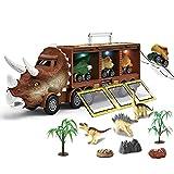 Dinosaurio Container Truck con luces y música, dinosaurios Animal Modelo Camión de almacenamiento Parte trasera extraíble Transportín Juguetes para niños niñas a partir de 3 4 5 6 años