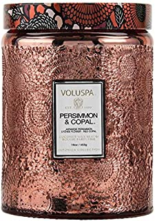 Voluspa Persimmon and Copal Large Embossed Glass Jar Candle, 16 Ounces