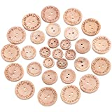 Coolty 300 bottoni fatti a mano, in legno naturale, per lavori a maglia, decorazioni fai da te, 15 mm/20 mm/25 mm, rotondi