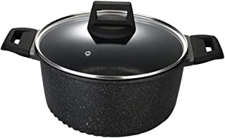 DSstyles 24cm Medical Stone Nonstick Soup Pot for Kitchen Induction Cooker Stewed Meat Pot Binaural black 24cm
