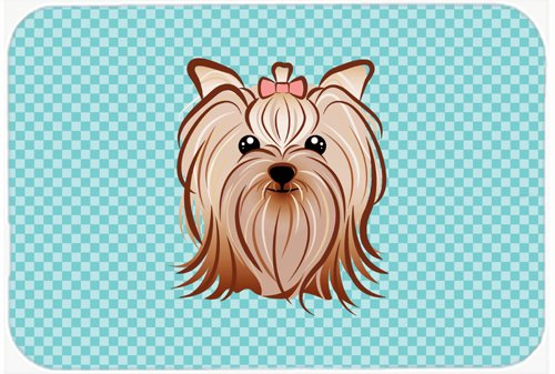 Caroline's Treasures BB1142MP Checkerboard Blue Yorkie Yorkishire Terrier Mouse Pad, Hot Pad or Trivet, Large, Multicolor