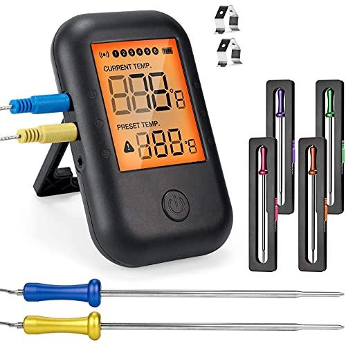 MUSCCCM Digital Grillthermometer Fleischthermometer Kochthermometer BBQ Thermometer Bluetooth 5.0 Bratenthermometer mit 6 Sonden LCD Display für Backofen Grill, Küche, Kochen, Unterstützt IOS, Android