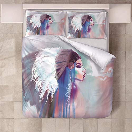 PERFECTPOT Super King Duvet Cover Set Indian Girl Printing Bedding Sets in Polyester with Zipper Closure, 1 Quilt Cover with 2 Pillowcases for Children Boys Girls Adults, 260x220