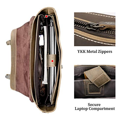 Texbo Men's 16 Inch Full Grain Cowhide Leather Laptop Briefcase Messenger Bag Tote with YKK Metal Zipper
