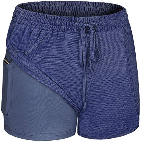 Blevonh Plus Size Shorts for Women,Ladies Running Short Pants Charming Elastic Waist Quick Dry Beach Wear Cute Flattering Yoga Athletic Clothing Loose Fitting Basic Knit Blue White XL