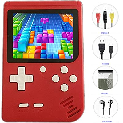"JJFUN Retro Handheld Games for Kids, 8 Bit Retro 400 Classic Games 3.0"" LCD Screen Portable Video Game Player Support TV Output Electric Learning Toys Birthday Gifts for Boys Girls Ages 4-12 (RED)"