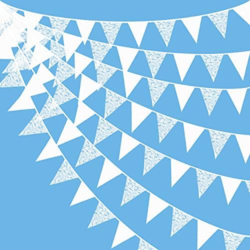10 m weiße Stoff-Wimpelkette mit Spitze als Partydekoration, Baumwoll-Wimpelkette, Dreiecks-Flaggen, Girlande für Hochzeit, Geburtstag, Jahrestag, Halloween, Kinderzimmer, Garten, Festivals, Partys