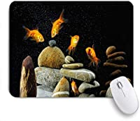 VAMIX マウスパッド 個性的 おしゃれ 柔軟 かわいい ゴム製裏面 ゲーミングマウスパッド PC ノートパソコン オフィス用 デスクマット 滑り止め 耐久性が良い おもしろいパターン (魚とリーフでユーモアを楽しむ自然シーン金魚の好奇心旺盛な注視岩ブロックシックな水中風景)