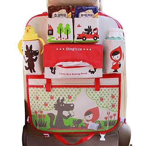 Ergocar Karikatur Auto Rückenlehnenschutz Auto Aufbewahrungstasche Auto Organizer Wasserdicht/trittschutz Kick Matten mit Isolierungs Beutel (Kleines Mädchen - 1 Pack)