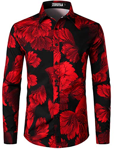 ZEROYAA Men's Hipster Urban Design 3D Printed Slim Fit Long Sleeve Button Up Dress Shirts ZLCL30-Red Large