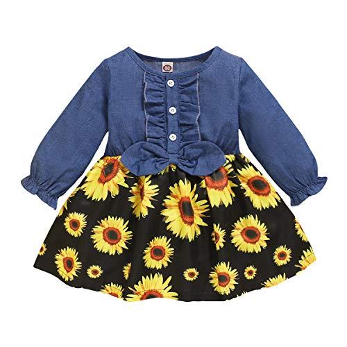 Toddler Baby Girl Princess Dress Long Sleeve Denim Bowknot Tops Clothes Infant Girl Fall Autumn Sunflower Tutu Skirts Dress Winter Outfits 12-18Months