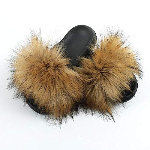 N/W Zapatos de Piscina para niños, Zapatillas de Lana de Moda, Zapatillas de casa Antideslizantes de Suela Gruesa para Mujer-Brown_ (270) 40-41