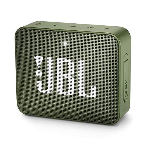 JBL GO 2 Speaker Bluetooth Portatile, Cassa Altoparlante Bluetooth Waterproof IPX7, Con Microfono, Funzione di Noise Cancelling, Fino a 5h di Autonomia, Verde Muschio
